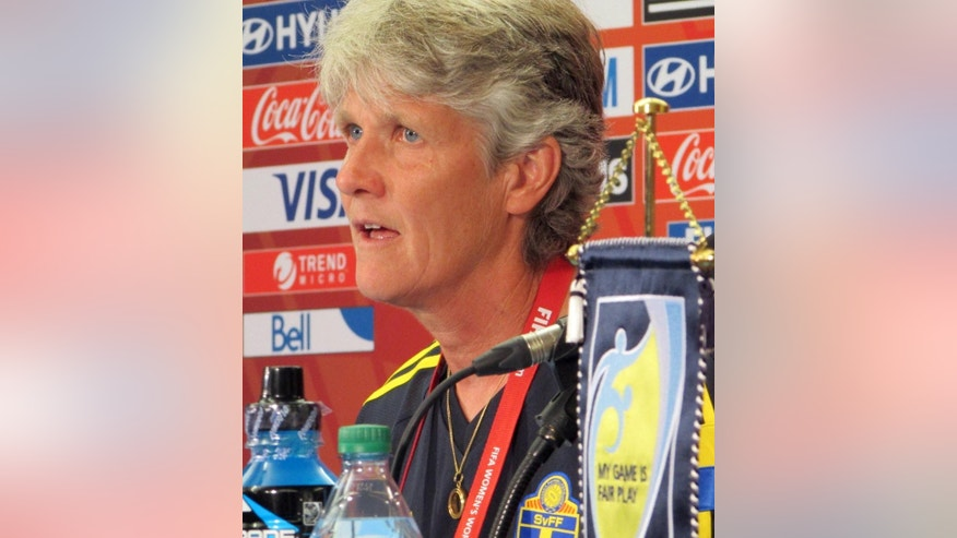 Sweden coach Pia Sundhage speaks during a news conference at the FIFA Women's World Cup soccer tournament, Thursday, June 11, 2015, in Winnipeg, Manitoba. Sundhage will coach against her old team, the United States, when they play on Friday in a first round match in Canada. (AP Photo/Anne M. Peterson)