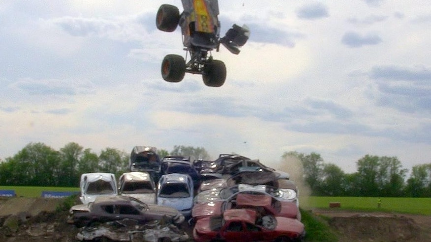 In this image taken from video on May 7, 2015, and provided by Feld Motor Sports, Tom Meents rotates forward in his truck after launching from his custom ramp in Paxton, Ill. Meents will attempt to make the Guinness Book of World Records when he tries to land a full front flip in a truck at the Monster Jam, Saturday night, June 13, 2015, at MetLife Stadium in East Rutherford, N.J. (Feld Motor Sports via AP)
