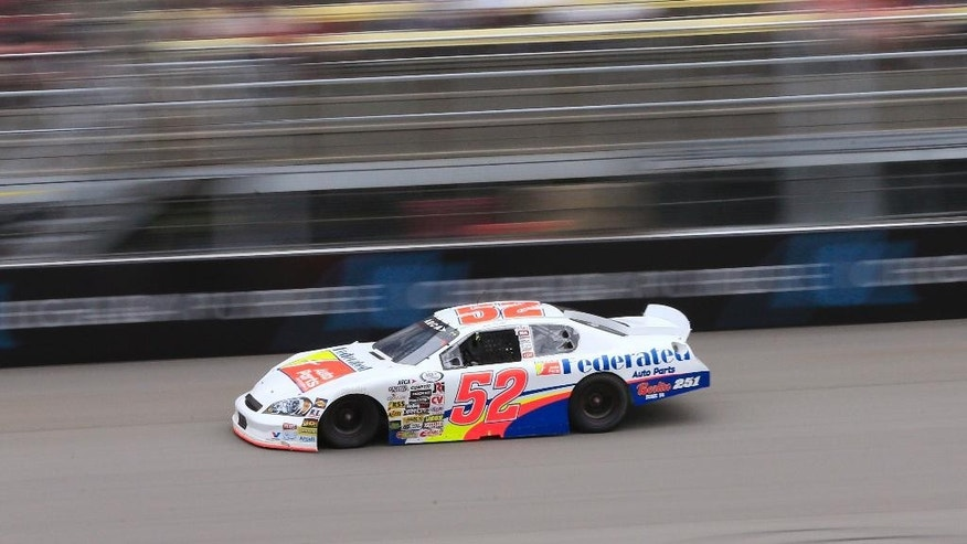 Ross Kenseth drives during the ARCA 200 auto race at Michigan International Speedway, Friday, June 12, 2015, in Brooklyn, Mich. (AP Photo/Carlos Osorio)