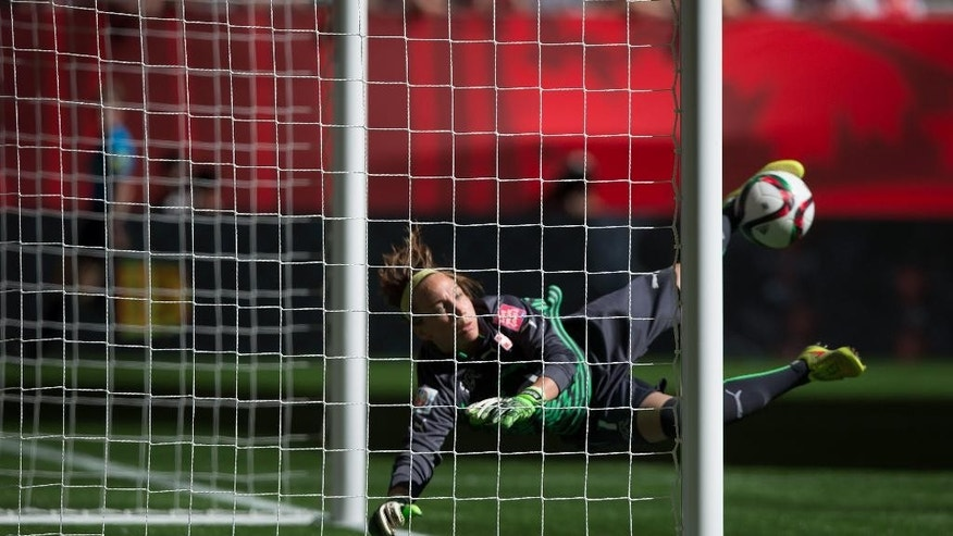 Switzerland goalkeeper Gaelle Thalmann watches as a Canada shot deflects off the crossbar during the first half of the FIFA Women's World Cup soccer action in Vancouver, British Columbia, Canada on Sunday June 21, 2015. (Darryl Dyck/The Canadian Press via AP)