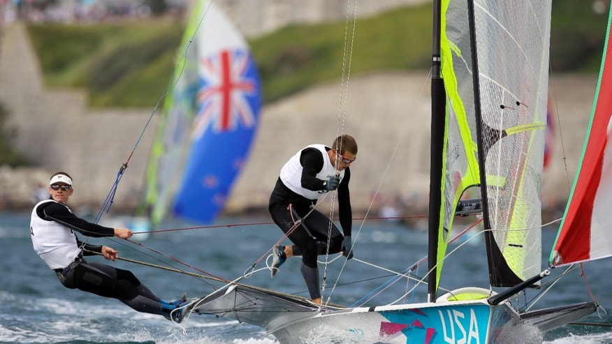 July 30,2012: Erik Storck and Trevor Moore of U.S. sail on 49er Men's Skiff class during the race 1 at the London 2012 Summer Olympics.