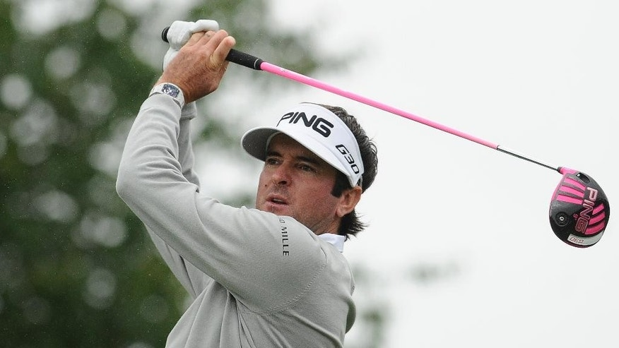 Bubba Watson tees off the second hole during the final of the Travelers Championship golf tournament, Sunday, June 28, 2015, in Cromwell, Conn. (AP Photo/Jessica Hill)