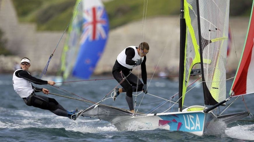 July 30, 2012: Erik Storck and Trevor Moore of U.S. sail on 49er Men's Skiff class during the race 1 at the London 2012 Summer Olympics.