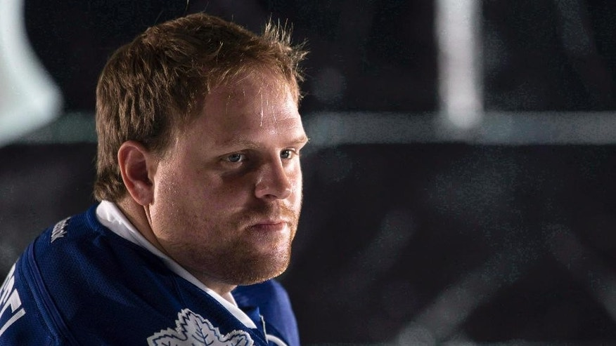 FILE - In this Sept. 18, 2014, file photo, Toronto Maple Leafs' Phil Kessel pauses during a photo shoot at training camp in Toronto. The Maple Leafs sent 27-year-old Kessel to the Pittsburgh Penguins on Wednesday, July 1, 2015, in a blockbuster deal that gives the Penguins a needed boost in its top six and gives the Maple Leafs some flexibility as they begin to retool under new coach Mike Babcock. (Chris Young/The Canadian Press via AP, File)