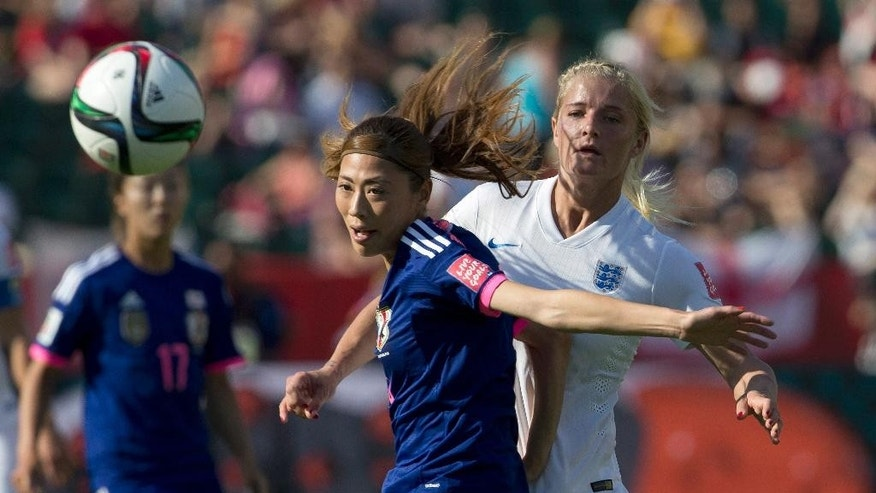 England's Katie Chapman (16) and Japan's Rumi Utsugi (13) vie for the ball during the second half of a semifinal in the FIFA Women's World Cup soccer tournament, Wednesday, July 1, 2015, in Edmonton, Alberta, Canada. Japan won 2-1. (Jason Franson/The Canadian Press via AP)