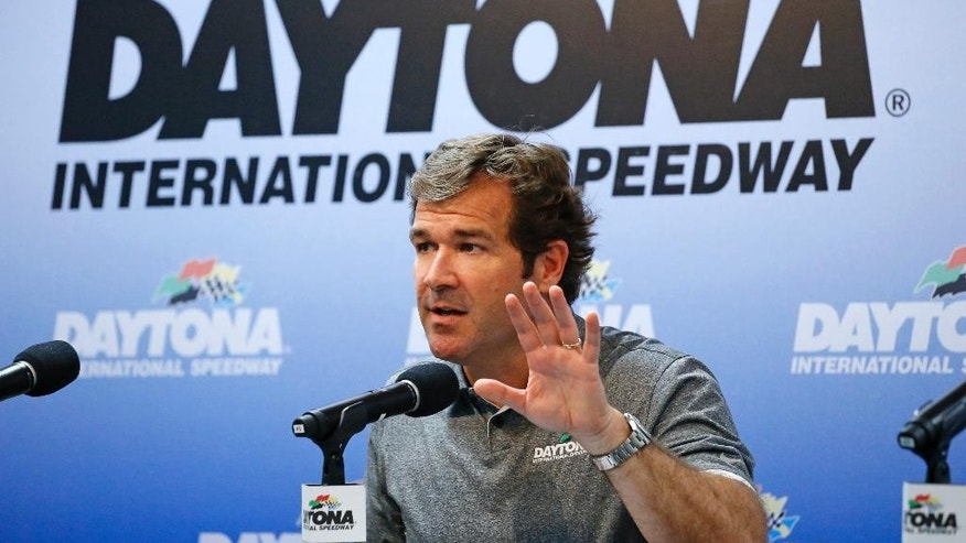 Joie Chitwood, president of International Speedway Corporation, speaks during a NASCAR Sprint Cup news conference at Daytona International Speedway, Friday, July 3, 2015, in Daytona Beach, Fla. (AP Photo/Terry Renna)