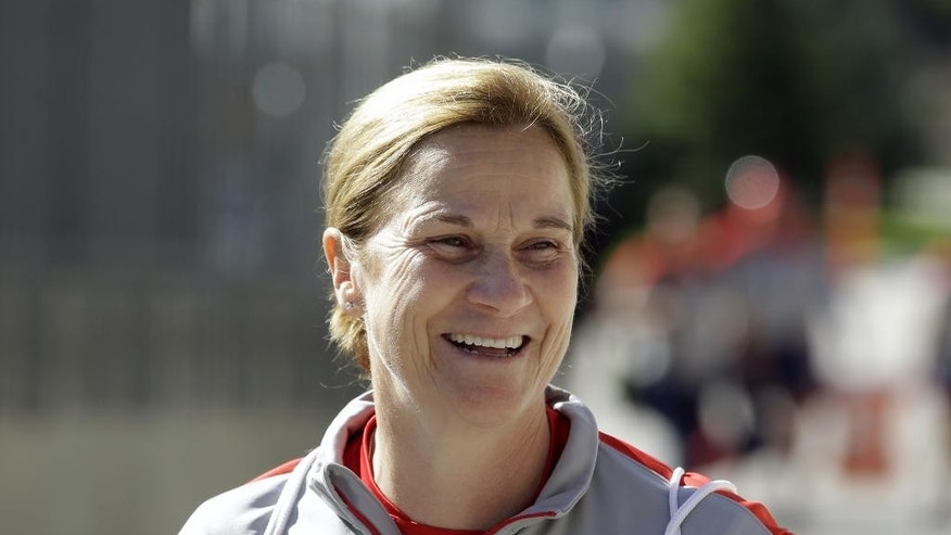 FILE - In this Sept. 12, 2014, file photo, U.S. Women's National soccer team coach Jill Ellis looks on during practice in Sandy, Utah. Ellis has coachds the U.S. Women's team to the World Cup final. (AP Photo/Rick Bowmer, File)