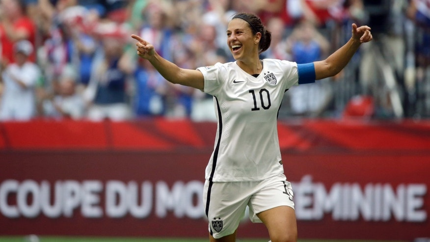 Carli Lloyd after scoring her third goal against Japan in Vancouver, Canada, Sunday, July 5, 2015.