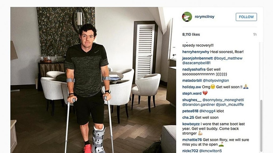 "In this image released Monday July 6, 2015 by world number one golfer Rory Mcilroy shows him as he poses on crutches and with his left leg in a medical support. McIlroy  ruptured a ligament in his left ankle while playing soccer less than two weeks before the start of his British Open title defense. The Northern Irish golfer gave no indication how long he would be out in the announcement Monday July 6, 2015 on his Instagram account, only saying that he is ""working hard to get back as soon as I can."" (Rory McIlroy via AP) MANDATORY CREDIT"