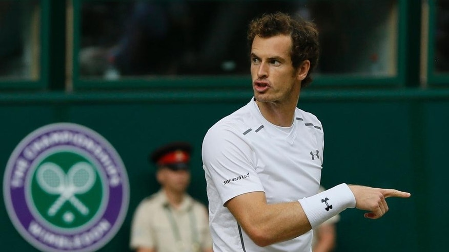 Andy Murray of Britain gestures as he plays Vasek Pospisil of Canada during the men's quarterfinal singles match at the All England Lawn Tennis Championships in Wimbledon, London, Wednesday July 8, 2015. (AP Photo/Kirsty Wigglesworth)