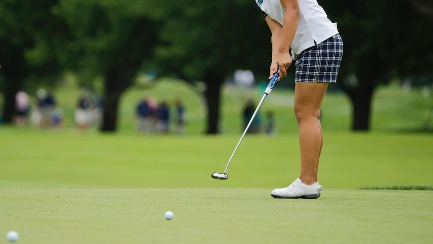 Lydia Ko, of New Zealand, putts on the 9th hole during a practice round for the U.S. Women's Open golf tournament at Lancaster Country Club, Wednesday, July 8, 2015, in Lancaster, Pa. (AP Photo/Frank Franklin II)