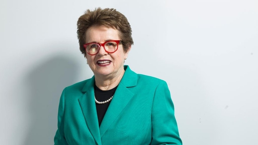 """FILE - In this June 4, 2015 file photo, Billie Jean King poses for a portrait in New York.  King and World Team Tennis are serving up their 40th season, a feat accomplished only by the """"big four"""" U.S. leagues. Starting on Sunday, July 12 through July 29, the newer faces of the coed WTT summer league will take to the courts in seven cities. (Photo by Scott Gries/Invision/AP, File)"""