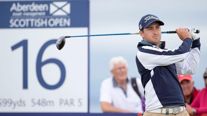 English golfer Daniel Brooks tees off at the 16th during day two of the Scottish Open at Gullane Golf Club, Gullane Scotland  Friday July 10, 2015.  (Kenny Smith/PA via AP) UNITED KINGDOM OUT