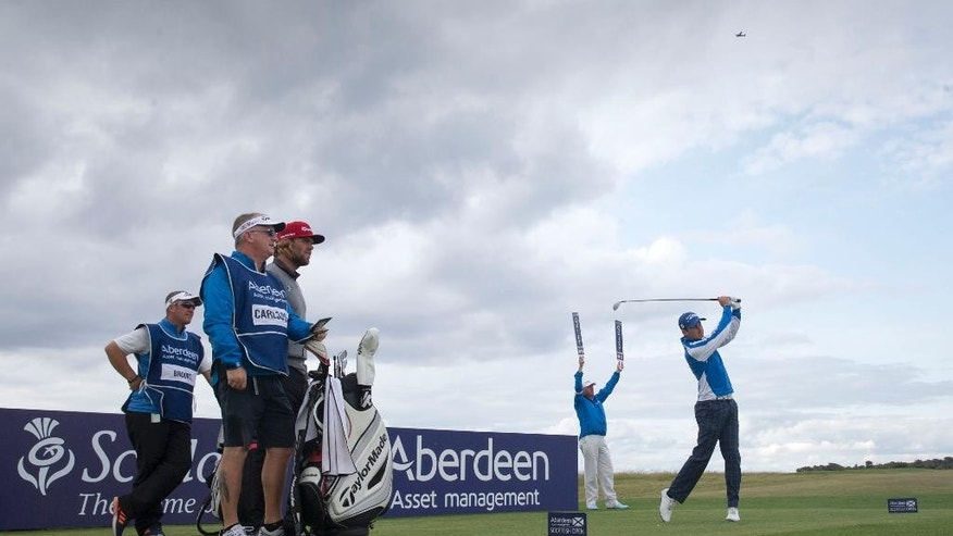 England's Daniel Brooks tees off at the 4th during day three of the Scottish Open at Gullane Golf Club, Gullane, Scotland  Saturday July 11, 2015.  (Kenny Smith/PA via AP) UNITED KINGDOM OUT