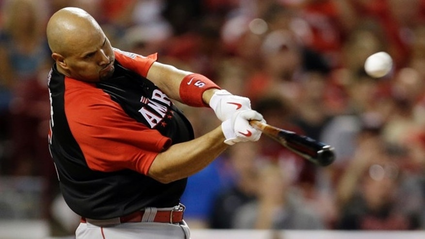 American League's Albert Pujols, of the Los Angeles Angels, hits during the MLB All-Star baseball Home Run Derby, Monday, July 13, 2015, in Cincinnati. (AP Photo/Jeff Roberson)
