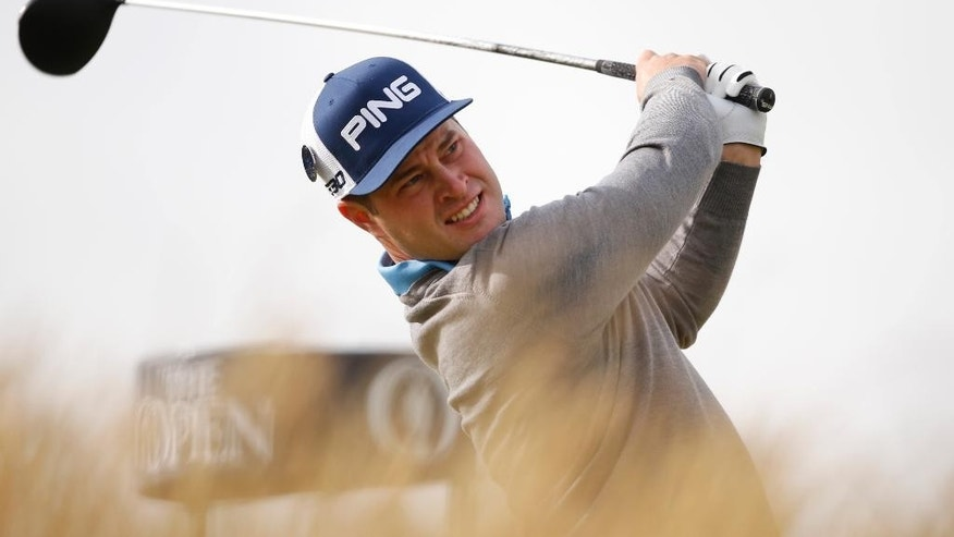 Sweden's David Lingmerth's drives a ball from the sixth tee during the first round of the British Open Golf Championship at the Old Course, St. Andrews, Scotland, Thursday, July 16, 2015. (AP Photo/Alastair Grant)