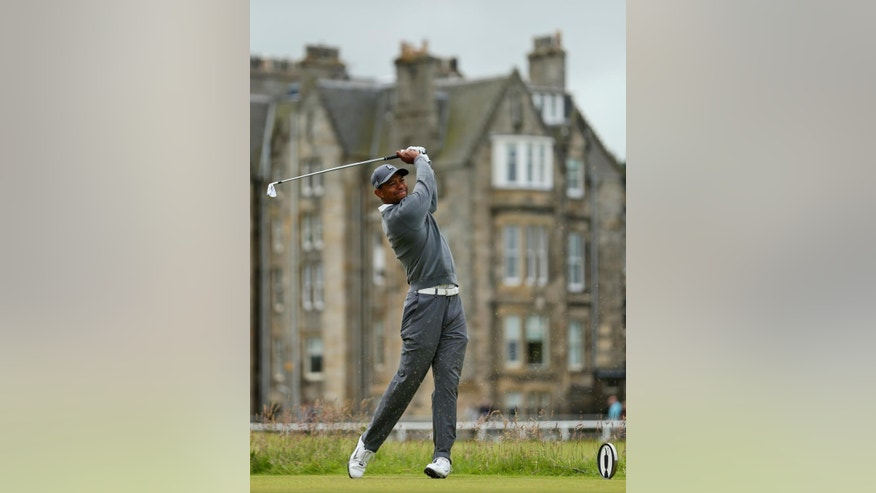 United States' Jordan Niebrugge follows his drive from the sixth tee during the first round of the British Open Golf Championship at the Old Course, St. Andrews, Scotland, Thursday, July 16, 2015. (AP Photo/Alastair Grant)