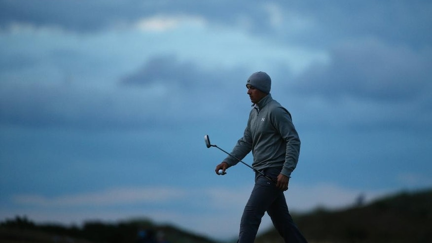 United States' Jordan Spieth walks on the 14th hole during the second round of the British Open Golf Championship at the Old Course, St. Andrews, Scotland, Friday, July 17, 2015. (AP Photo/Jon Super)