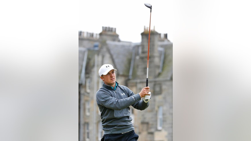 United States' Jordan Spieth plays from the second tee during the third round at the British Open Golf Championship at the Old Course, St. Andrews, Scotland, Sunday, July 19, 2015. (AP Photo/Jon Super)