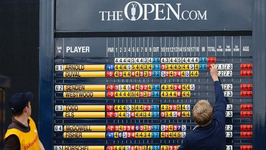 The score of United States' David Duval is posted on the leaderboard during the third round at the British Open Golf Championship at the Old Course, St. Andrews, Scotland, Sunday, July 19, 2015. (AP Photo/Jon Super)