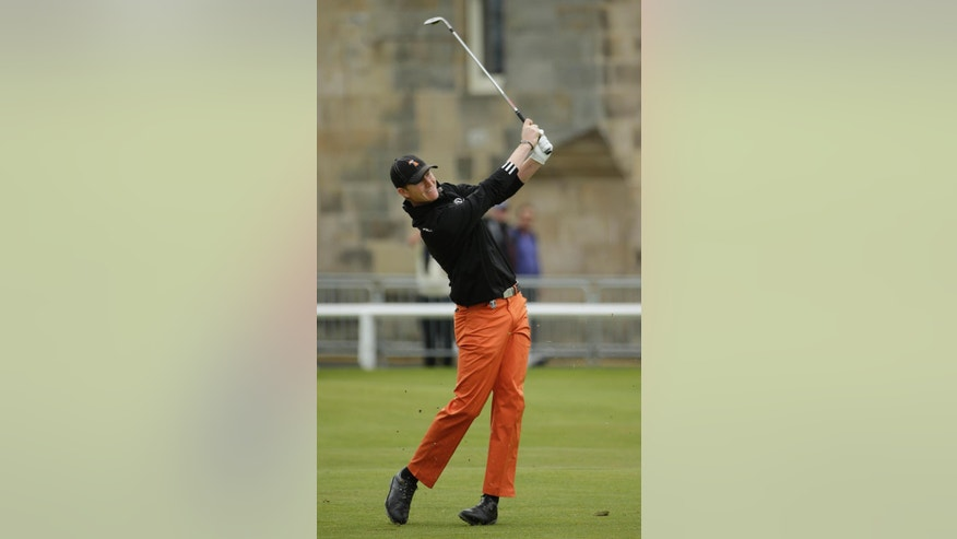 United States' Jordan Niebrugge plays a second shot on the first fairway during the final round at the British Open Golf Championship at the Old Course, St. Andrews, Scotland, Monday, July 20, 2015. (AP Photo/David J. Phillip)