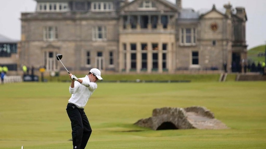 United States' Zach Johnson plays from the 18th tee during the final round at the British Open Golf Championship at the Old Course, St. Andrews, Scotland, Monday, July 20, 2015. (AP Photo/Peter Morrison)