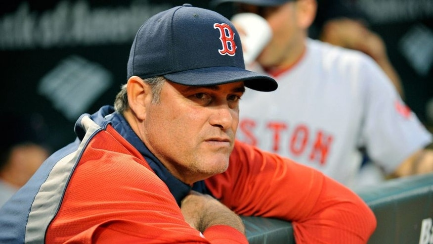 Sep 19, 2014; Baltimore, MD, USA; Boston Red Sox manager John Farrell (53) looks on during the game against the Baltimore Orioles at Oriole Park at Camden Yards. Mandatory Credit: Joy R. Absalon-USA TODAY Sports