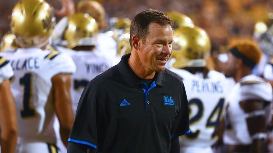 Sep 25, 2014; Tempe, AZ, USA; UCLA Bruins head coach Jim Mora prior to the game against the Arizona State Sun Devils at Sun Devil Stadium. UCLA defeated Arizona State 62-27. Mandatory Credit: Mark J. Rebilas-USA TODAY Sports