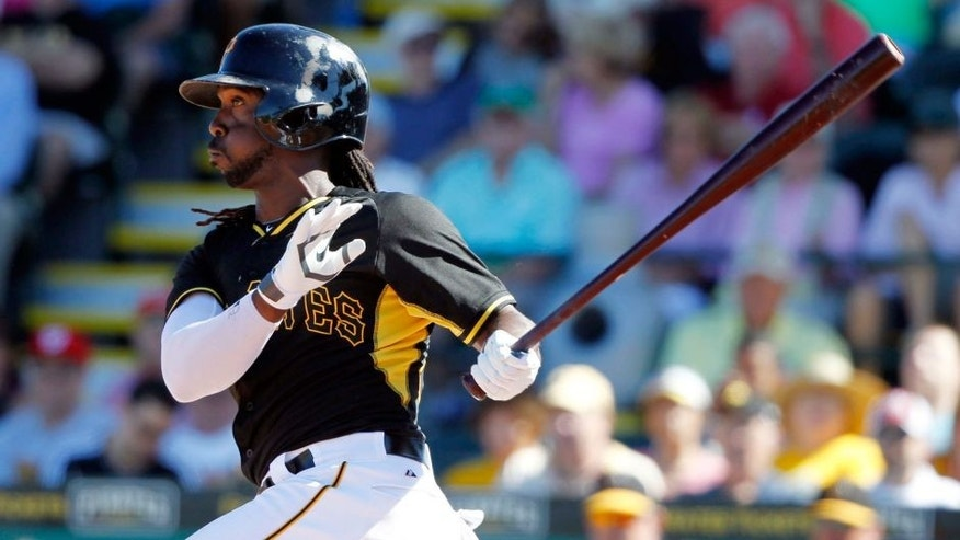 <p>Mar 3, 2014; Bradenton, FL, USA; Pittsburgh Pirates center fielder Andrew McCutchen (22) singles during the fifth inning against the Boston Red Sox at McKechnie Field. Mandatory Credit: Kim Klement-USA TODAY Sports</p>
