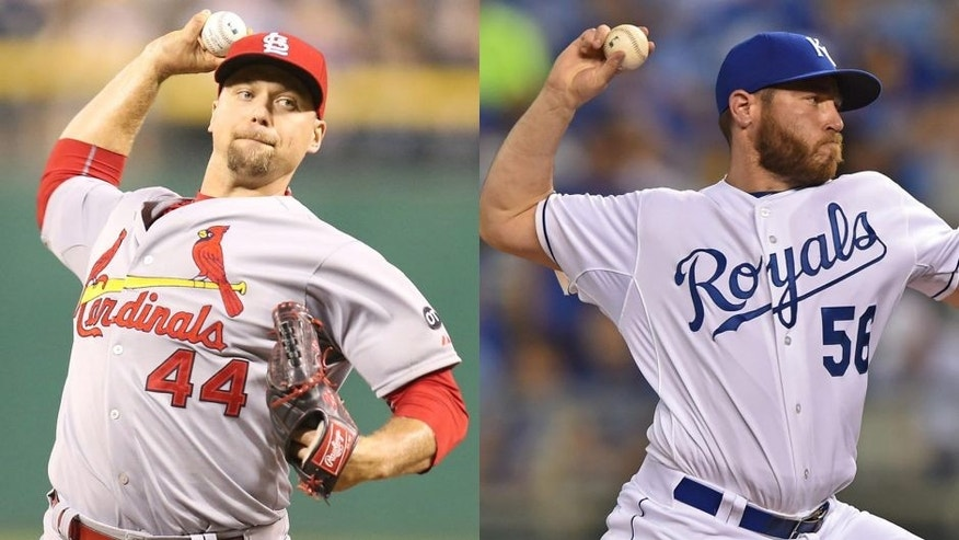 <p>Cardinals closer Trevor Rosenthal and Royals closer Greg Holland.</p>