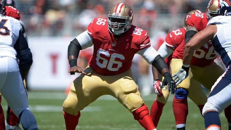 Aug 17, 2014; Santa Clara, CA, USA; San Francisco 49ers center Marcus Martin (66) against the Denver Broncos in the inaugural football game at Levi's Stadium. Mandatory Credit: Kirby Lee-USA TODAY Sports