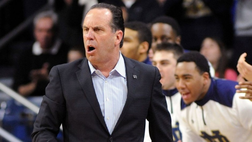 Notre Dame coach Mike Brey reacts to his team's play in the second half of an NCAA college basketball game against Wake Forest Tuesday, Feb. 17, 2015, in South Bend, Ind. Notre Dame won 88-75 pushing their record to 23-4. (AP Photo/Joe Raymond)