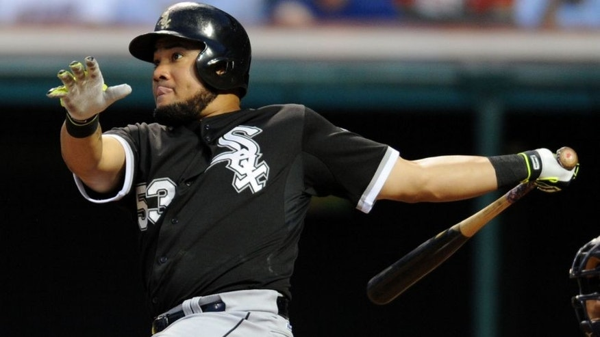Jul 23, 2015; Cleveland, OH, USA; Chicago White Sox left fielder Melky Cabrera (53) hits a two-run home run during the seventh inning against the Cleveland Indians at Progressive Field. Mandatory Credit:
