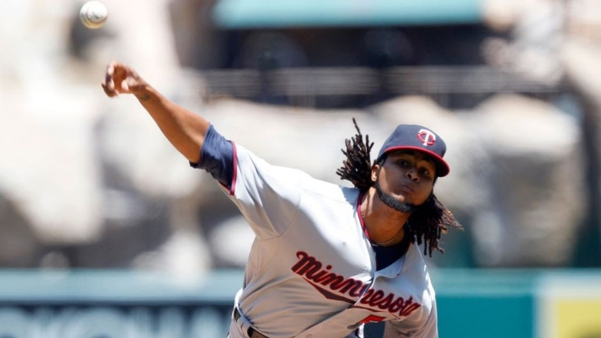 <p>Minnesota Twins starting pitcher Ervin Santana throws against the Los Angeles Angels during the first inning of a baseball game in Anaheim, Calif., Thursday, July 23, 2015. (AP Photo/Alex Gallardo)</p>
