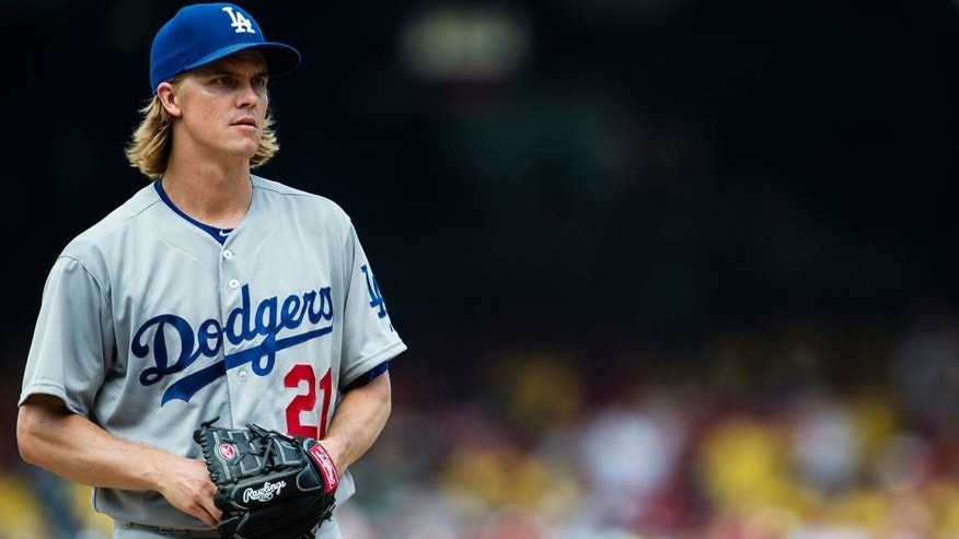 WASHINGTON, DC - JULY 19: Starting pitcher Zack Greinke #21 of the Los Angeles Dodgers prepares to throw a pitch to a Washington Nationals batter in the fourth inning of a baseball game at Nationals Park on July 19, 2015 in Washington, DC. (Photo by Patrick McDermott/Washington Nationals/Getty Images)