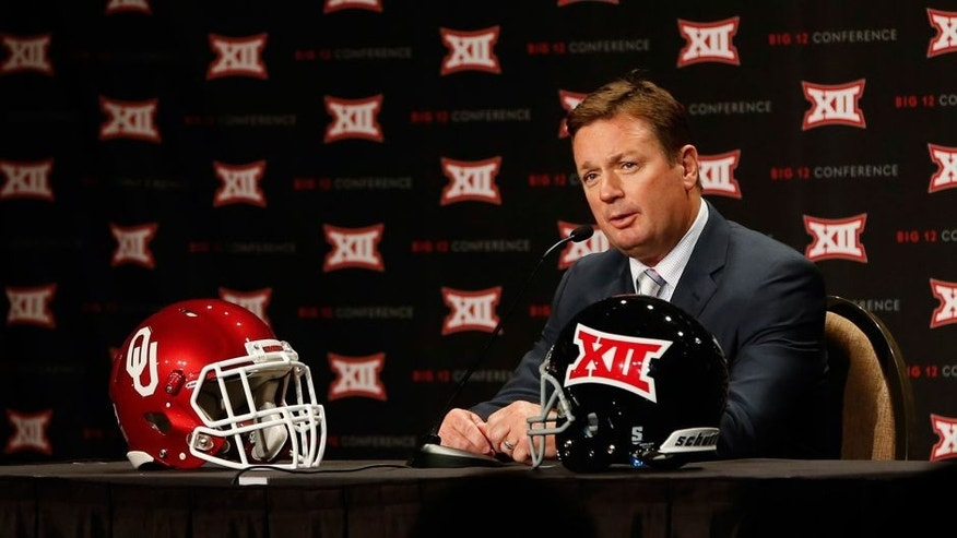 Jul 22, 2014; Dallas, TX, USA; Oklahoma Sooners head coach Bob Stoops speaks to the media during the Big 12 Media Day at the Omni Dallas. Mandatory Credit: Kevin Jairaj-USA TODAY Sports