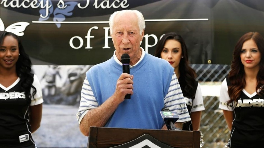 NFL Hall of Famer Fred Biletnikoff speaks at the groundbreaking for the expansion of Tracey's Place of Hope, Thursday, July 23, 2015, in Loomis, Calif. Named after Biletnikoff's late daughter, Tracey, who was murdered in 1999 by an ex-boyfriend, the home provides shelter for domestic-violence victims and substance abuse treatment for females ages 14-18. (AP Photo/Rich Pedroncelli)