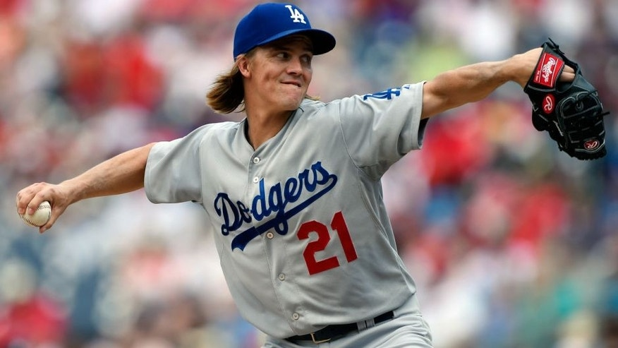 Jul 19, 2015; Washington, DC, USA; Los Angeles Dodgers pitcher Zack Greinke (21) pitches during the third inning against the Washington Nationals at Nationals Park. Mandatory Credit: Tommy Gilligan-USA TODAY Sports