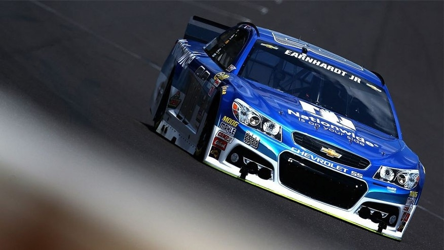 INDIANAPOLIS, IN - JULY 24: Dale Earnhardt Jr., driver of the #88 Nationwide Chevrolet, practices for the NASCAR Sprint Cup Series Crown Royal Presents the Jeff Kyle 400 at the Brickyard at Indianapolis Motorspeedway on July 24, 2015 in Indianapolis, Indiana. (Photo by Sarah Crabill/NASCAR via Getty Images)