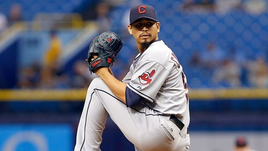 Carlos Carrasco #59 of the Cleveland Indians pitches during the first inning of a game against the Tampa Bay Rays on July 1, 2015 at Tropicana Field in St. Petersburg, Florida. (Photo by Brian Blanco/Getty Images)