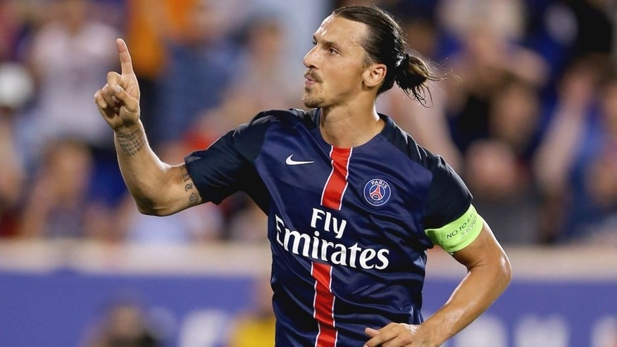 HARRISON, NJ - JULY 21: Zlatan Ibrahimovic #10 of Paris Saint-Germain celebrates his goal in the second half against AFC Fiorentina during the International Champions Cup at Red Bull Arena on July 21, 2015 in Harrison, New Jersey.Paris Saint-Germain defeated ACF Fiorentina 4-2. (Photo by Elsa/Getty Images)