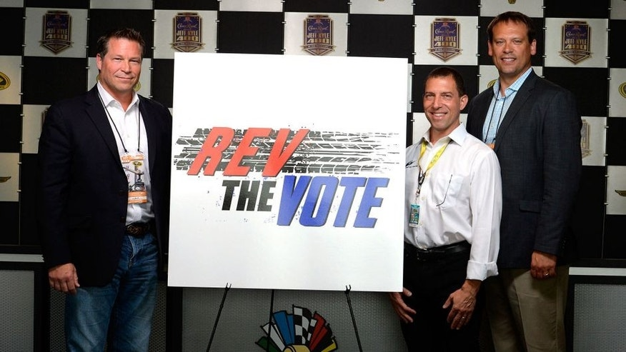 INDIANAPOLIS, IN - JULY 24: (L-R)Connie Mack, Rob Kauffman, and Heath Shuler pose for a photo opportunity prior to practice for the NASCAR Sprint Cup Series Crown Royal Presents the Jeff Kyle 400 at the Brickyard at Indianapolis Motorspeedway on July 24, 2015 in Indianapolis, Indiana. (Photo by Robert Laberge/Getty Images)