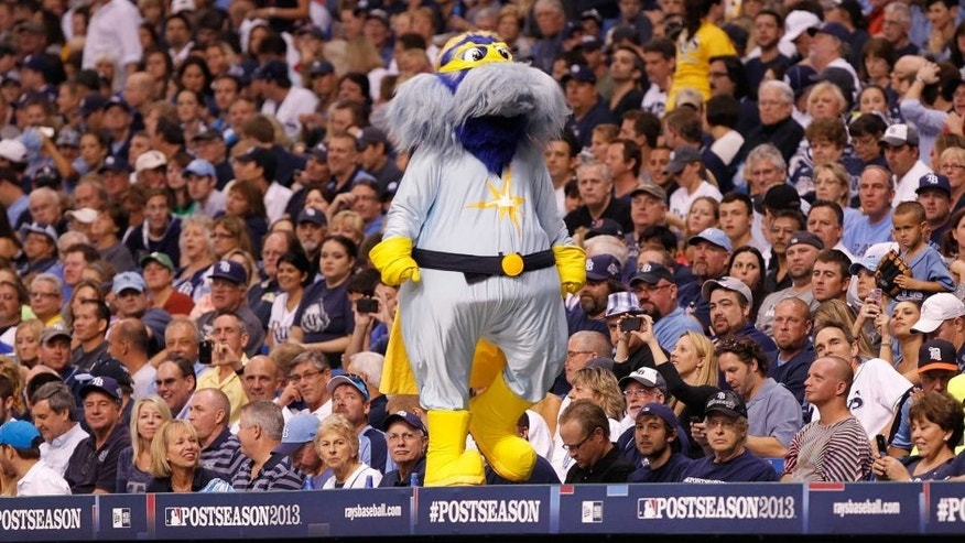 <p>Oct 8, 2013; St. Petersburg, FL, USA; Tampa Bay Rays mascot, Raymond, on top of the dugout against the Boston Red Sox of game four of the American League divisional series at Tropicana Field. Mandatory Credit: Kim Klement-USA TODAY Sports</p>
