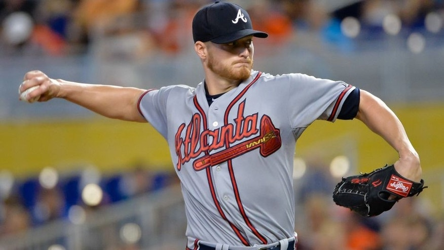 <p>May 17, 2015; Miami, FL, USA; Atlanta Braves starting pitcher Shelby Miller (17) delivers a pitch against the Miami Marlins during the first inning at Marlins Park. Mandatory Credit: Steve Mitchell-USA TODAY Sports</p>
