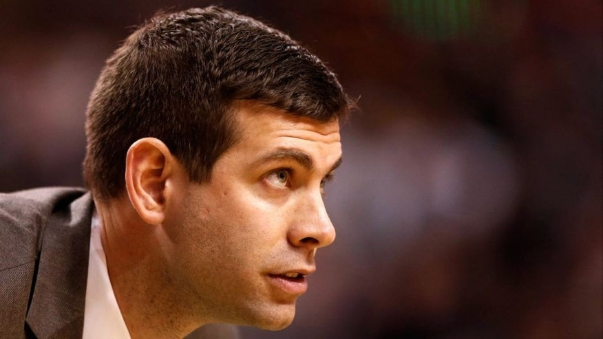 Mar 16, 2015; Boston, MA, USA; Boston Celtics head coach Brad Stevens on the side line during the fourth quarter against the Philadelphia 76ers at TD Garden. The Boston Celtics won 108-89. Mandatory Credit: Greg M. Cooper-USA TODAY Sports
