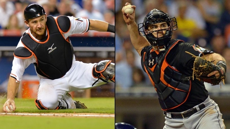 <p>Miami Marlins catchers Jeff Mathis and JT Realmuto.<br> </p>