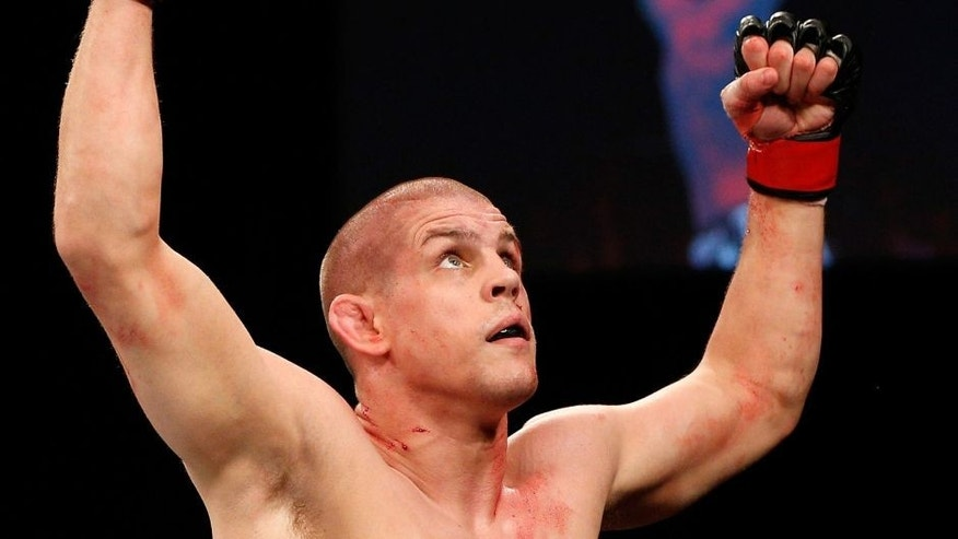 MASHANTUCKET, CT - SEPTEMBER 05: Joe Lauzon celebrates after defeating Michael Chiesa in their lightweight bout during the UFC Fight Night event at Foxwoods Resort Casino on September 5, 2014 in Mashantucket, Connecticut. (Photo by Josh Hedges/Zuffa LLC/Zuffa LLC via Getty Images)