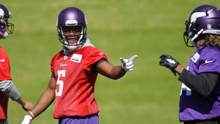 Tuesday, June 16: Minnesota Vikings quarterback Teddy Bridgewater (left) talks with wide receiver Cordarrelle Patterson during minicamp in Eden Prairie, Minn.