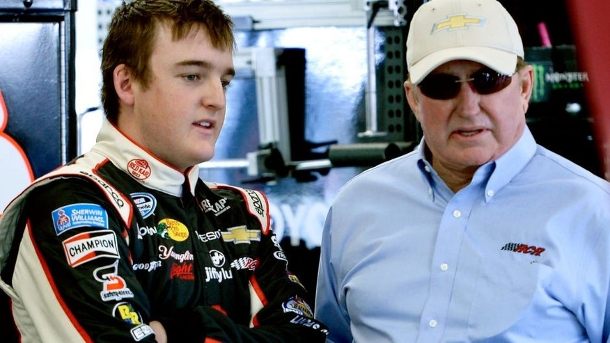 LAS VEGAS, NV - MARCH 07: Ty Dillon (left), driver of the #3 VF-Jiffy Lube Chevrolet, talks with Richard Childress, owner of Richard Childress Racing, during practice for the NASCAR Nationwide Series Boyd Gaming 300 at Las Vegas Motor Speedway on March 7, 2014 in Las Vegas, Nevada. (Photo by Jeff Bottari/Getty Images)
