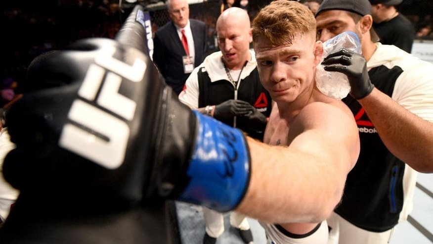 CHICAGO, IL - JULY 25: Paul Felder rests in his corner between rounds of his lightweight bout against Edson Barboza of Brazil during the UFC event at the United Center on July 25, 2015 in Chicago, Illinois. (Photo by Jeff Bottari/Zuffa LLC/Zuffa LLC via Getty Images)